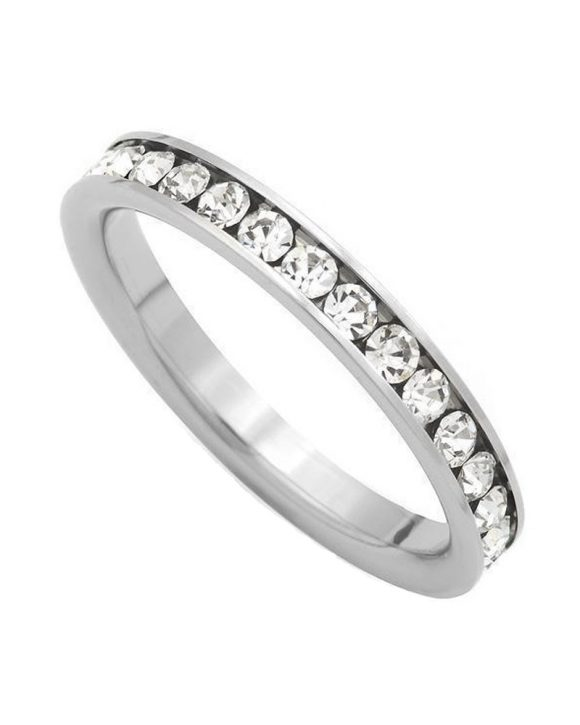 iJewelry2 Clear Round Cut CZ Silver-tone Stainless Steel Wedding Ring Band